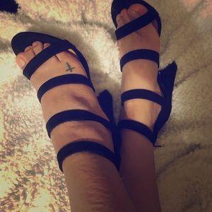 Bamboo Strappy Chunky heel